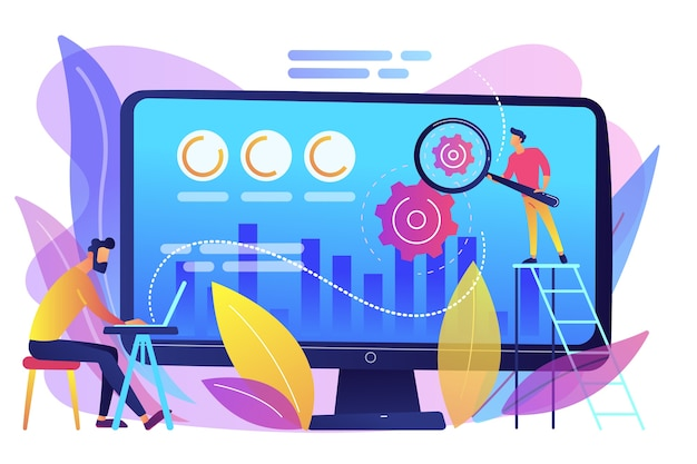 L'analyste et le spécialiste cro augmentent le pourcentage de clients. optimisation du taux de conversion, système de marketing numérique, concept de marketing d'attraction principale. illustration isolée violette vibrante lumineuse