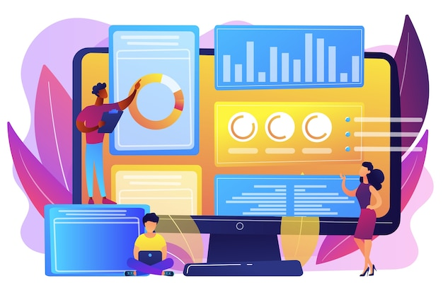 Analystes d'affaires effectuant la gestion des idées sur l'écran de l'ordinateur. logiciel de gestion de l'innovation, outils de brainstorming, concept de contrôle informatique innovant. illustration isolée violette vibrante lumineuse