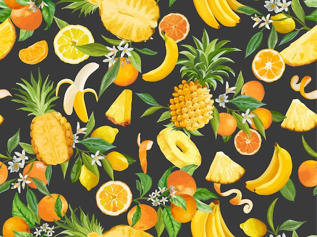 Ananas aquarelle, banane, citron, mandarine, modèle sans couture orange. fruits tropiques d'été, feuilles, fond de fleurs. illustration vectorielle pour la couverture de printemps, texture de papier peint tropical, toile de fond