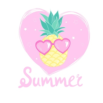 Ananas avec design de lunettes, exotique, fond, nourriture, fruits, illustration nature ananas été tropical.