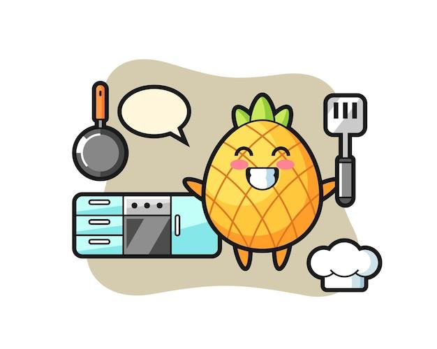 Ananas, design de style mignon pour t-shirt, autocollant, élément de logo