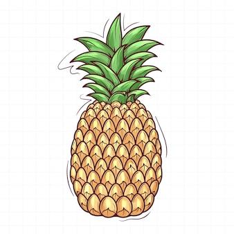 Ananas Dessiné à La Main Mignon Vecteur Premium