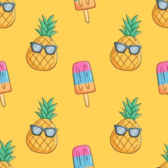 Ananas dessinés à la main portent des lunettes de soleil avec de la crème glacée en modèle sans couture