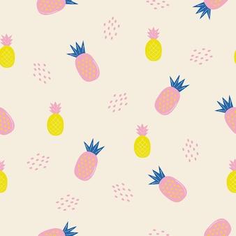 Ananas d'été tropical modèle sans couture et arrière-plan