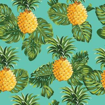 Ananas et feuilles tropicales modèle sans couture vintage