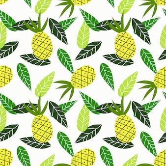 Ananas et feuilles vertes modèle sans couture.