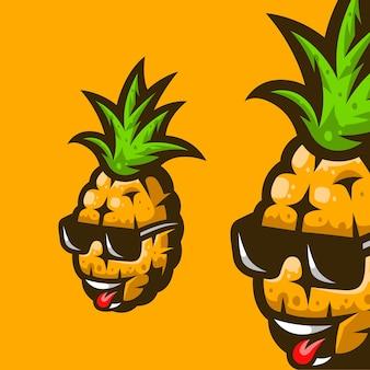 Ananas frais avec illustration de lunettes