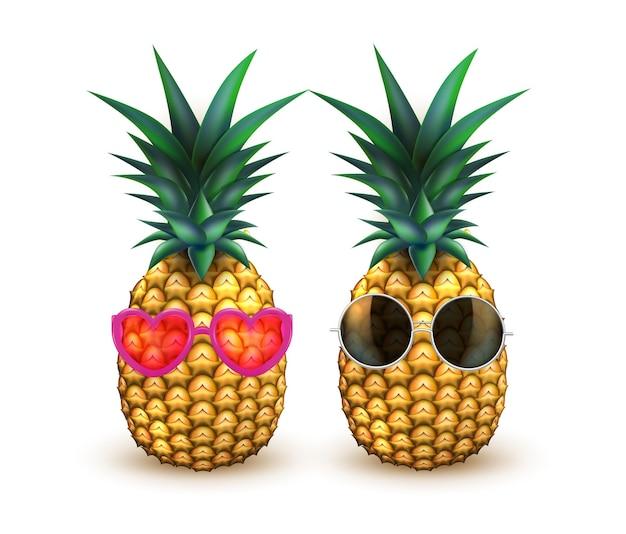 Ananas En Fruits Réalistes Lunettes De Soleil Vecteur Premium