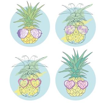 Ananas avec des lunettes design tropical fruits exotiques
