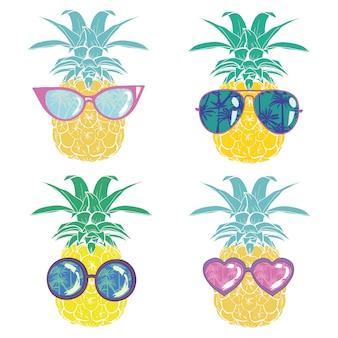Ananas avec des lunettes tropicales, vecteur, illustration, design, exotiques, nourriture, fruit