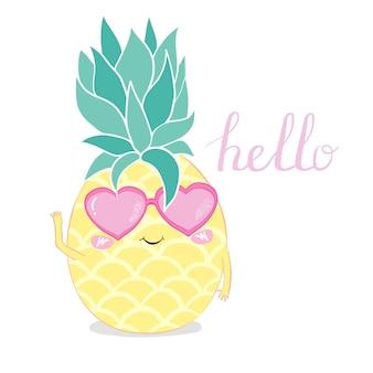 Ananas avec des lunettes