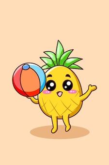 Ananas mignon avec illustration de dessin animé de volley-ball