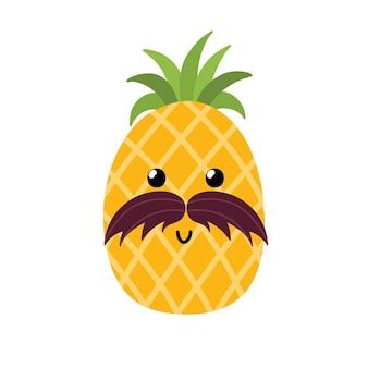 Ananas mignon avec moustache impression d'été pour les enfants personnage de dessin animé de fruits illustration vectorielle