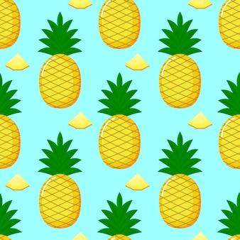 Ananas modèle sans couture et tranches. été fruits d'été sur fond bleu.