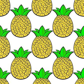 Ananas mûrs, tropicaux avec un fond blanc. modèle vectorielle continue.