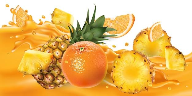 Ananas et oranges sur une vague de jus de fruits.