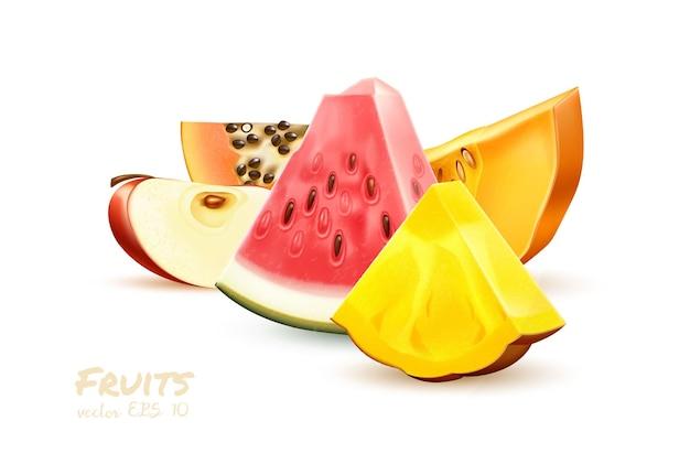 Ananas pomme pastèque papaye tranche de fruits réaliste ensemble juteux fruits tropicaux ensemble