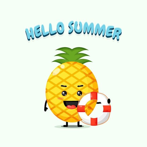 Ananas portant un char avec des salutations d'été