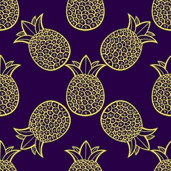 Les ananas sont mûrs, tropicaux avec un fond noir. modèle vectorielle continue.