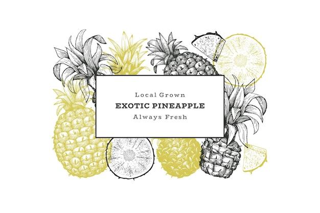 Ananas de style croquis dessinés à la main. illustration de fruits frais.
