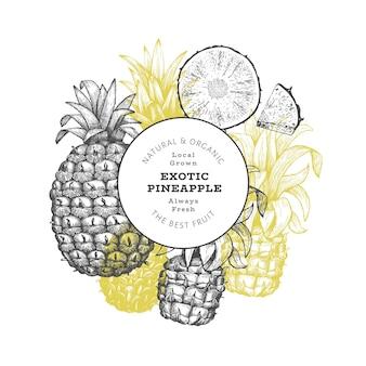 Ananas de style croquis dessinés à la main