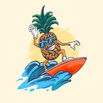 Ananas surf avec style de dessin à la main