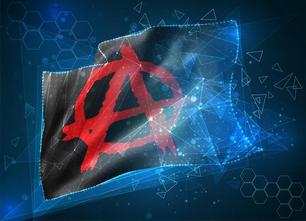 Anarchie, drapeau 3d vectoriel sur fond bleu avec interfaces hud