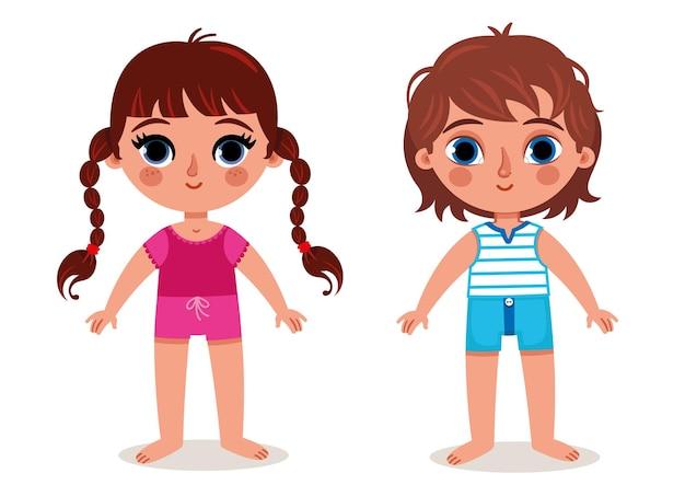 Anatomie des parties du corps d'une fille et d'un garçon illustration vectorielle