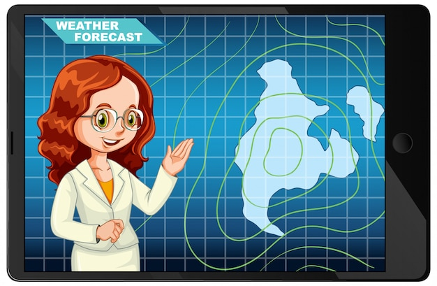 Anchorman rapportant les prévisions météorologiques sur l'écran de la tablette