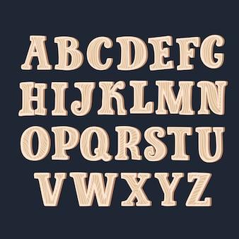 Ancien Alphabet En Bois Grunge, Serti De Toutes Les Lettres, Prêt Pour Votre Message Texte, Titre Ou Logos Vecteur Premium