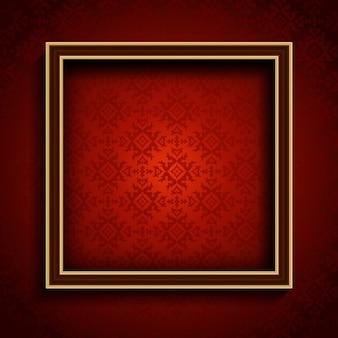Ancien cadre de l'image sur un fond d'écran de style de damassé rouge