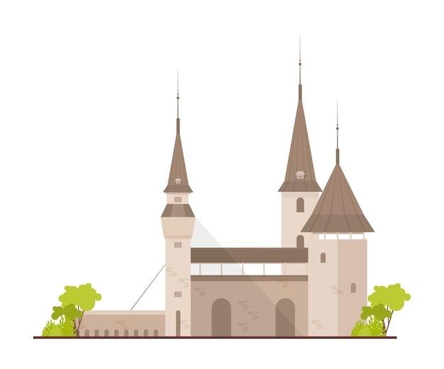 Ancien château européen, forteresse ou bastion avec tours et pont-levis isolé sur fond blanc
