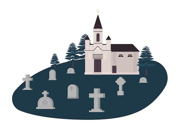 Ancien cimetière, cimetière ou cimetière avec tombes, pierres tombales ou pierres tombales et église chrétienne, kirk ou chapelle.