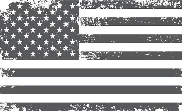 Ancien drapeau américain noir et blanc