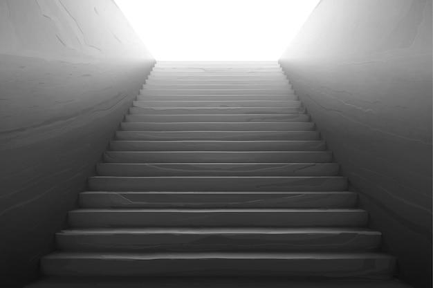 Ancien escalier avec marches en béton cassé