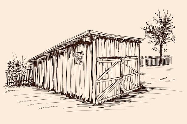 Un ancien hangar à bétail de village aux portes closes. croquis de la main sur un fond beige.