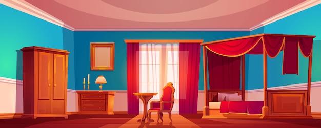 Ancien intérieur de chambre de luxe avec lit à baldaquin