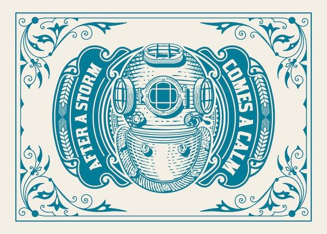 ancien logo avec cadre floral et casque de plongée
