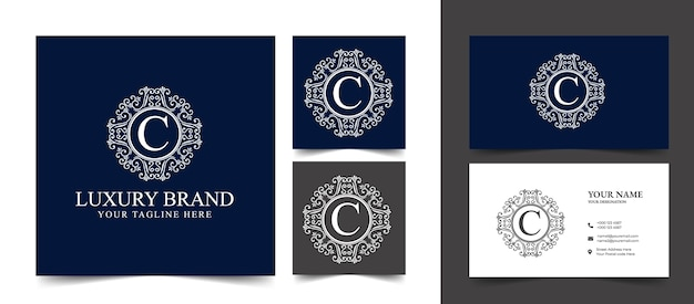 Ancien logo calligraphique victorien de luxe rétro avec cadre ornemental