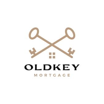 Ancien logo d'immobilier d'hypothèque de maison de croix de clé