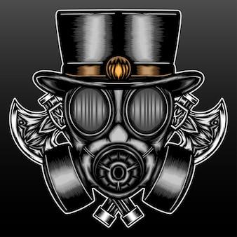 Ancien masque à gaz avec hache isolé sur noir