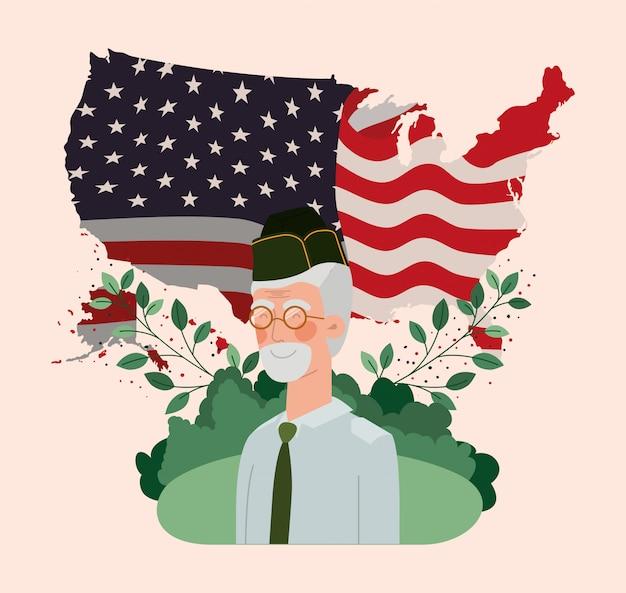 Ancien militaire avec drapeau américain et carte sur le terrain