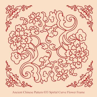 Ancien modèle chinois de cadre de fleur de courbe en spirale