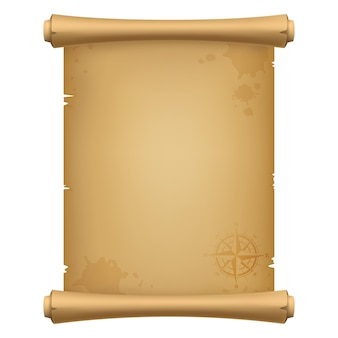 Ancien parchemin antique de pirate, carte au trésor avec une rose des vents, isolé sur fond blanc. illustration vectorielle réaliste 3d.