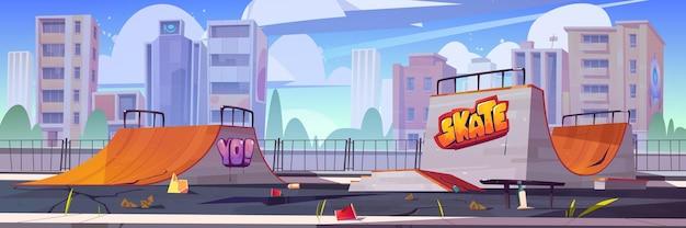 Ancien skate park avec rampes cassées et route fissurée. paysage urbain de dessin animé avec piste pour planche à roulettes, graffitis, désordre et poubelle.