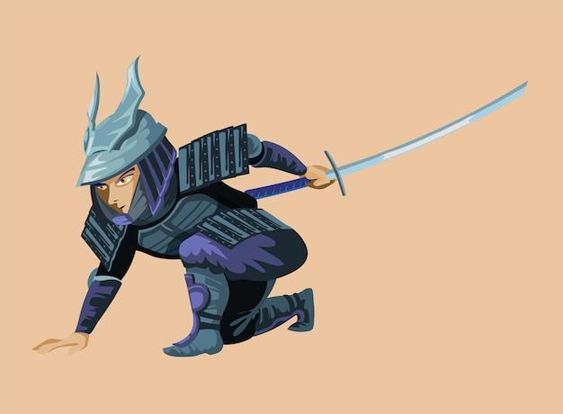 Ancien soldat de chasse guerrier énorme dessin animé et homme militaire en armure légère de samouraï