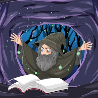 Ancien sorcier avec sort et livre style cartoon sur fond de grotte sombre