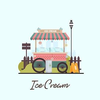 Ancien stand de crème glacée de vecteur dans le parc