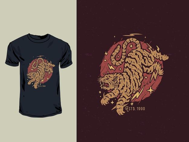 Ancien timbre japonais et illustration de t-shirt tigre en colère de style tatouage