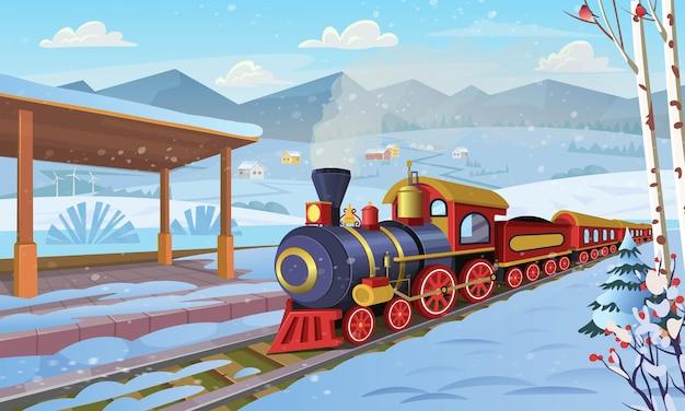 Ancien train avec gare dans le village